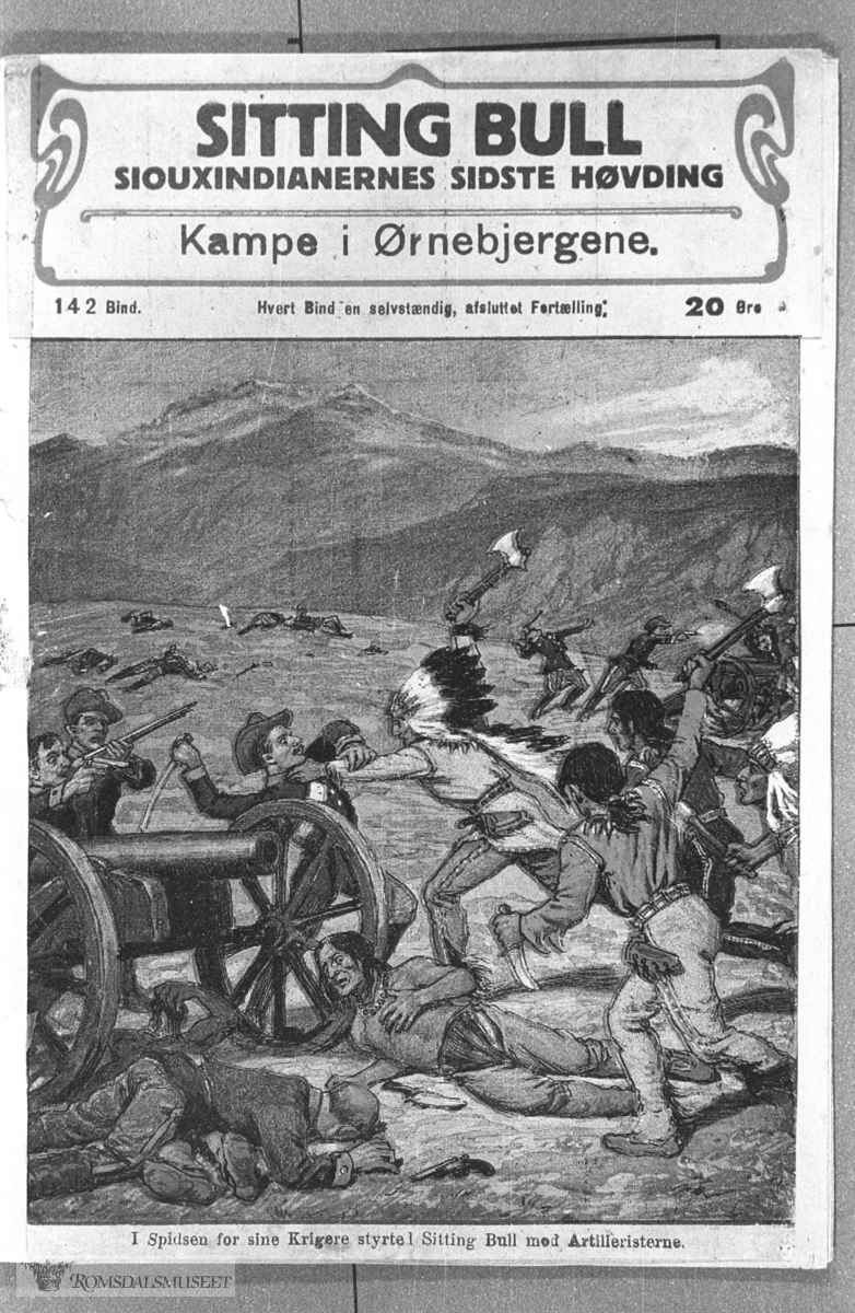 """""""Sitting Bull"""" omslagsbilde. Nr 142 og 144. Se Nils Parelius: """"De gamle hefteseriene"""" Molde 1987."""