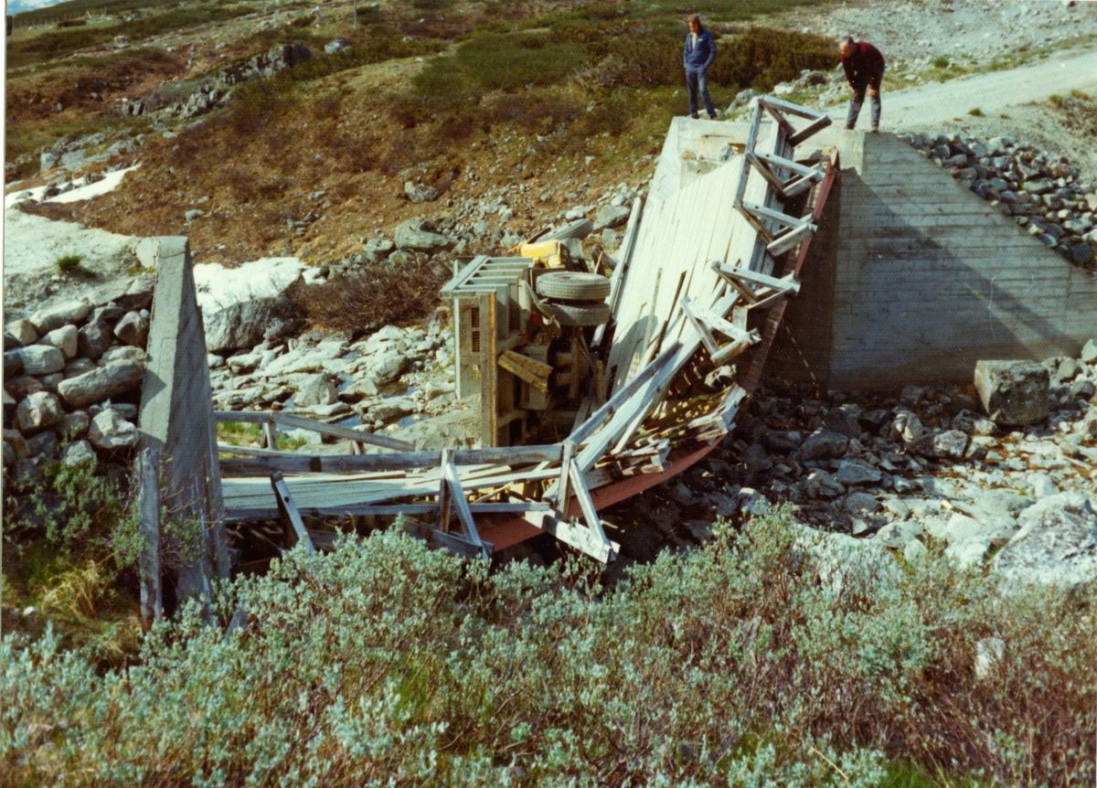 Oslo Lysverker. Bruhavari ved Vavatn, Hemsedal. 01.07.1975. Mot sør-øst.