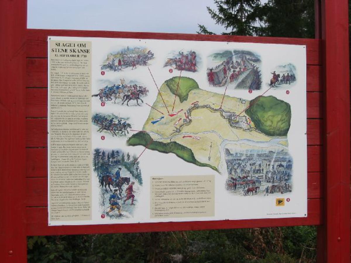 Infotavle med tekst, bilder og kart.