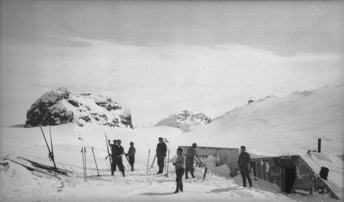 7 menn frå Høyer Ellefsen, ski, Nibbenut hytta, vinter