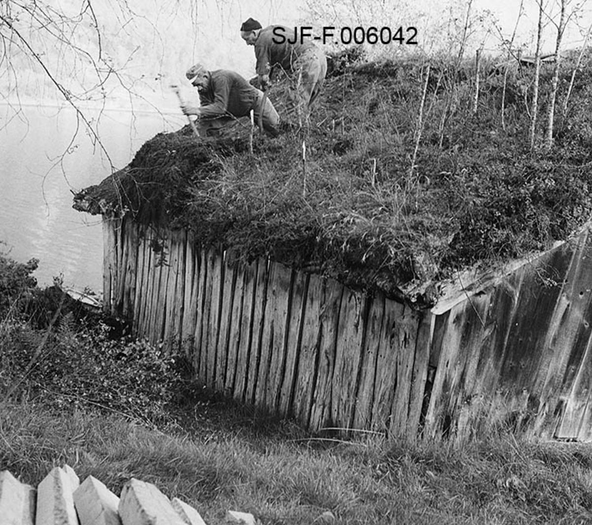 Naustet til Nikolai J. Gjesdal (1889-1973) ved Vassenden i Jølster i Sunnfjord i Sogn og Fjordane.  Fotografiet er tatt fra bakkekammen på oversida av bygningen, mot den ene av langveggene og den ene halvdelen av saltaket. Naustet er en umalt, bordkledd stavkonstruksjon med torvtekt sperretak.  På taket vokste det en god del lauvtrær da fotografiet ble tatt, noe som vel tyder på at det var ei stund siden taket ble lagt om da dette fotografiet ble tatt.  Det skjedde høsten 1968, da to arbeidskledde menn var i ferd med å spa ned torva fra taket.  Dette arbeidet ble gjort med henblikk på at naustet skulle demonteres og flyttes til Elverum, hvor det ble gjenoppført i Norsk Skogmuseums friluftsmuseum på Prestøya.  I forgrunnen til venstre ser vi endene på en del bjelker, i bakgrunnen vannspeilet på Jølstravatnet.   Jølsternaustet er 790 centimeter langt og 456 centimeter bredt og har følgelig ei grunnflate på 36 kvadratmeter.  På gavlen mot vassdraget er rafthøyden 217 og mønehøyden 365 centimeter.  På den bakre eller vestre gavlen er rafthøyden 125 og mønehøyden 258 centimeter.