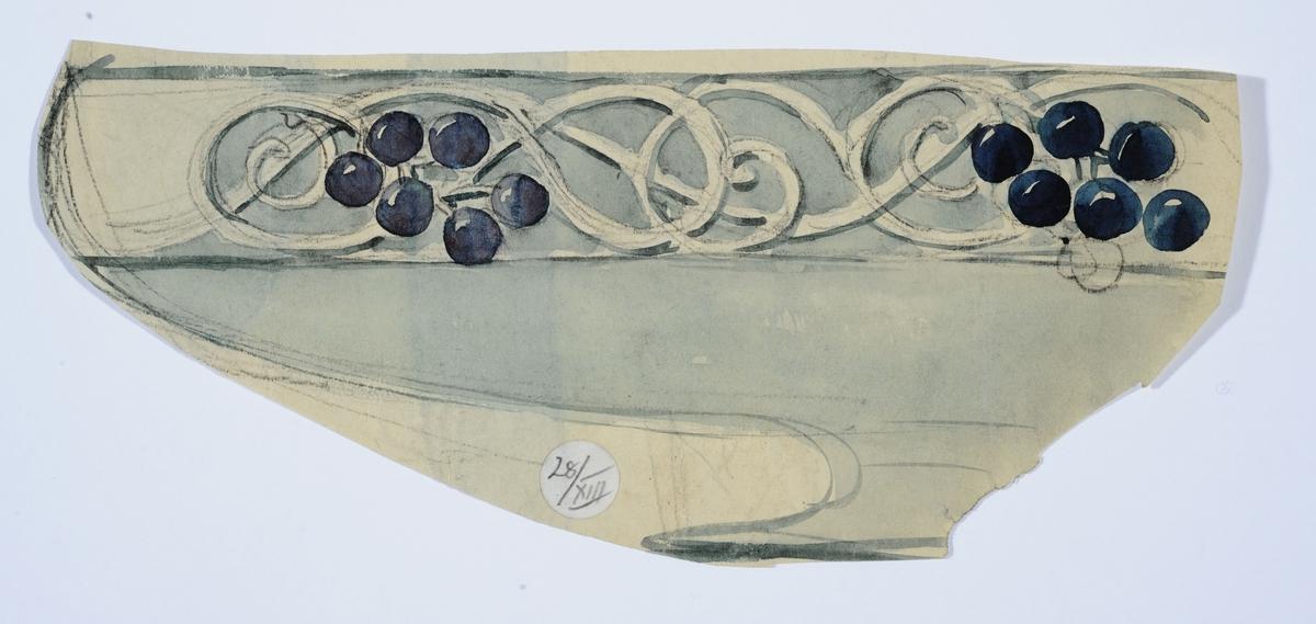 Skisse av skål med ranke og bær