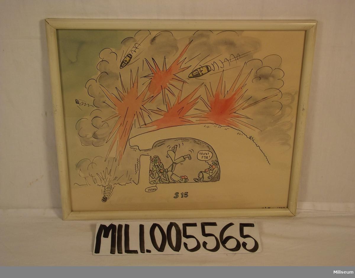 Akvarell föreställande felskjutning, 1947  Se notering på baksidan.