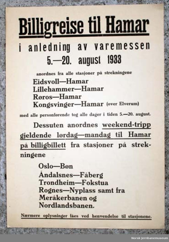 Reklameplakat : Billigreise til Hamar