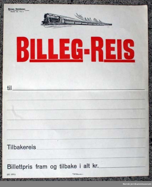 """Oppslag fra NSB : """"BILLEG-REIS"""""""