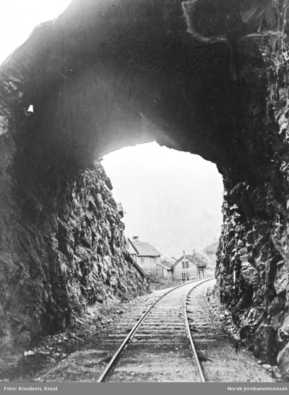 Parti fra Vossebanen; foto gjennom Bolstad tunnel