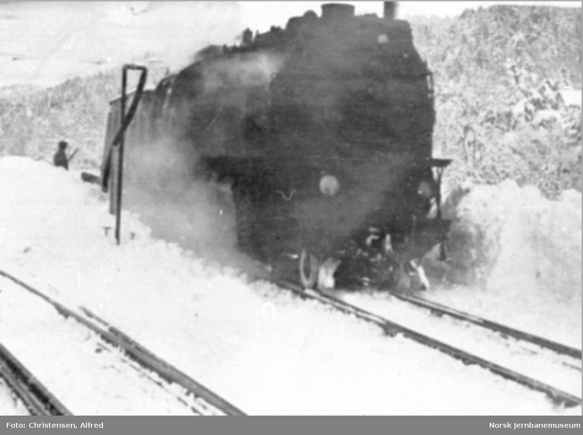 Et av Thamshavnsbanens tikoblede damplokomotiver med sporrenser