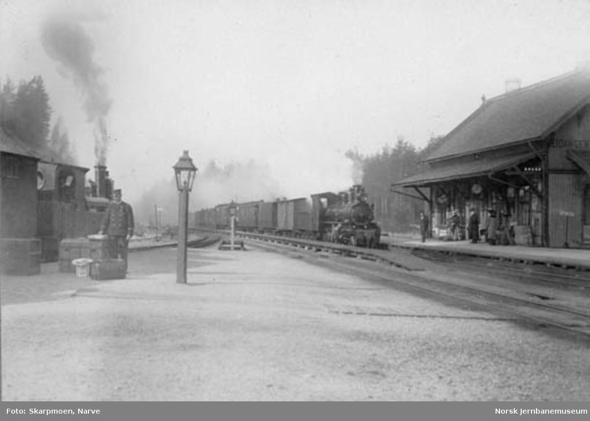 Vestfoldbanens persontog ankommer Eidanger stasjon; toget fra Brevik er ankommet