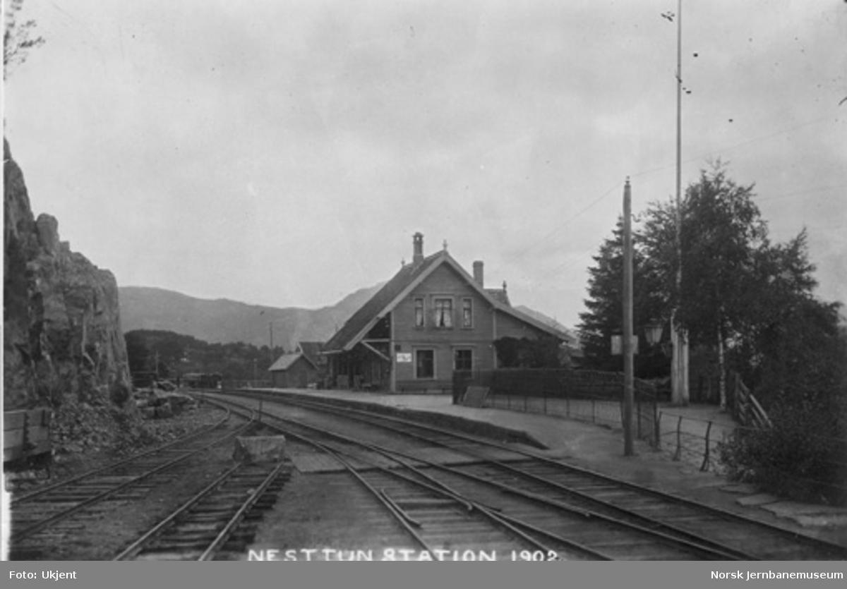 Nesttun stasjon : arbeider med å utvide stasjonsområdet pågår