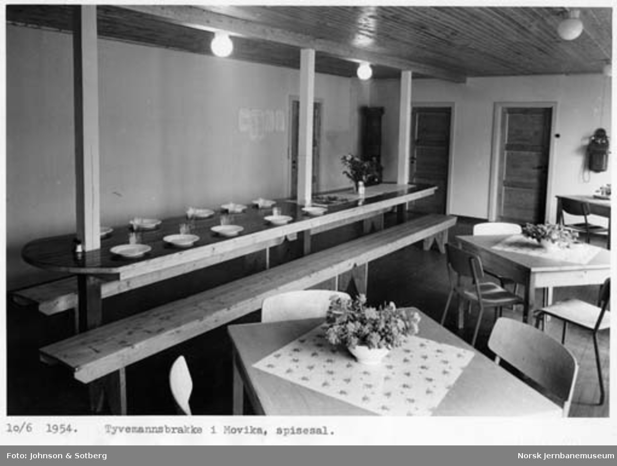 Sulitjelmabanens forlengelse : tyvemannsbrakke i Movika, interiør i spisesalen