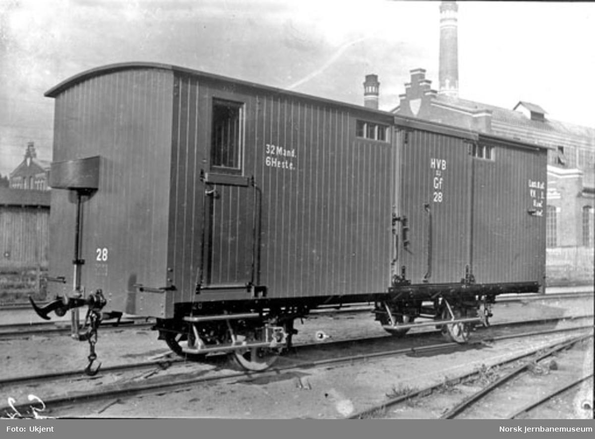 Holmestrand-Vittingfossbanens godsvogn litra Gf nr. 28 på Skabo Jernbanevognfabrik