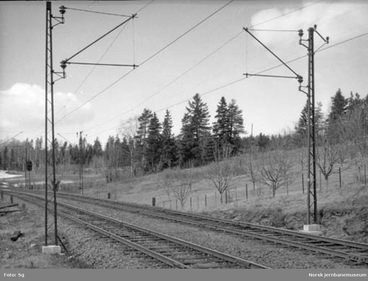Drammenbanens elektrifisering : mastene 672 og 673 mot Blommenholm