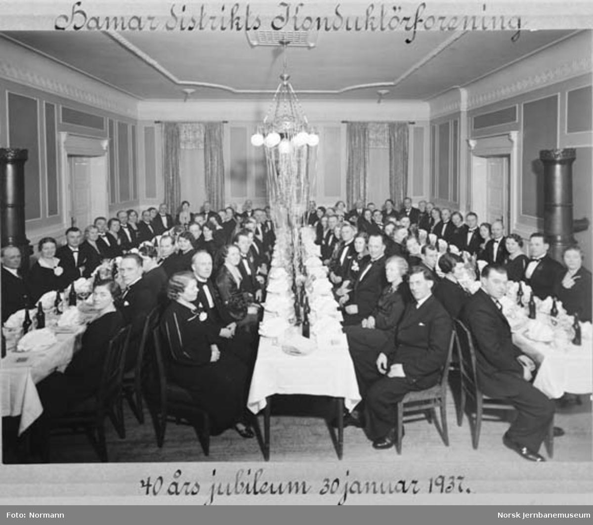 Hamar distrikts konduktørforening : festmiddagen ved 40 års-jubileet