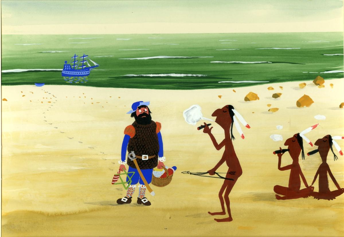 Akvarell av mann og indianere. Humoristisk.