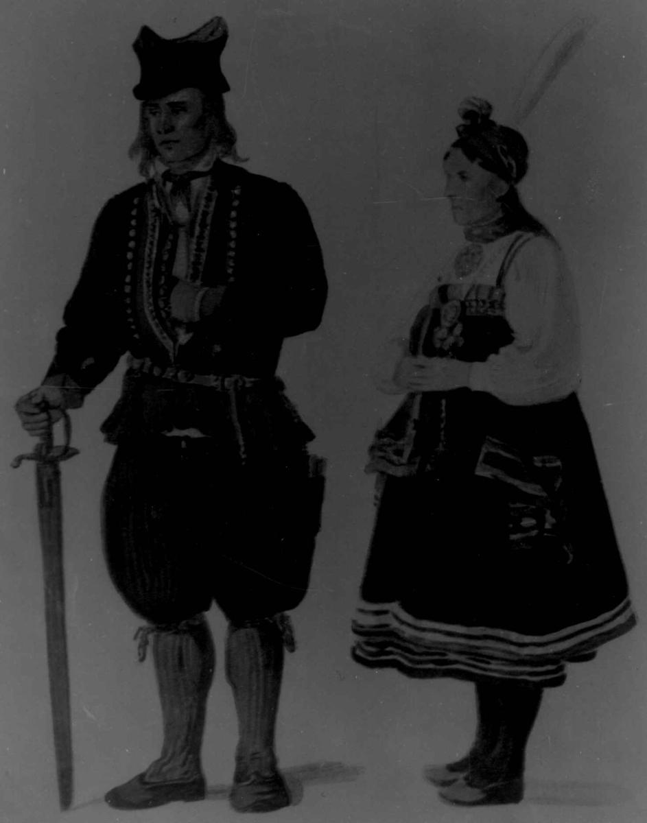 Drakt. Brudgom;an.d.brur, Tidemand, A.