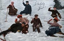 Postkort. Jule- og nyttårshilsen. Vintermotiv. Skiløpere i s