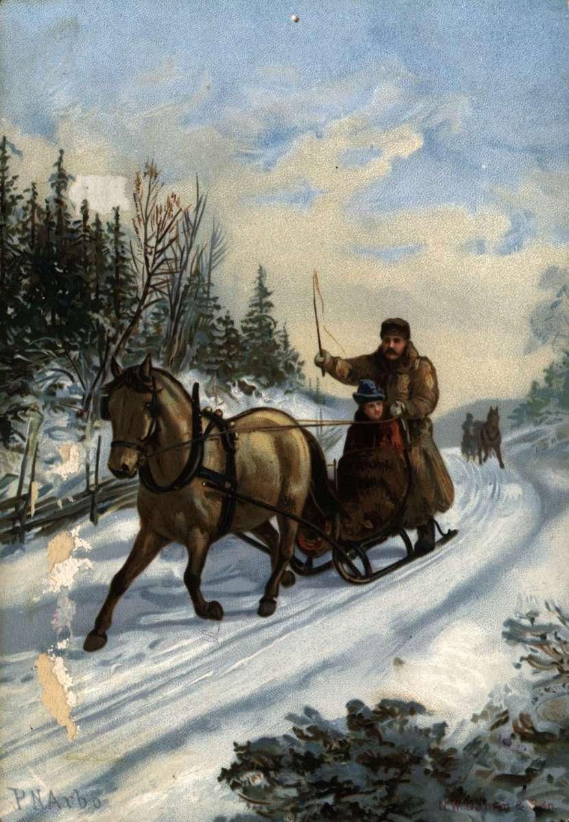 Postkort. Julehilsen. Vintermotiv. En mann med hest og slede på tur gjennom skogen. En dame sitter i sleden. I bakgrunnen en annen mann med hest og slede. Illustrert av Peter Nikolai Arbo (1831-1892). Datert julen 24.12.1889.