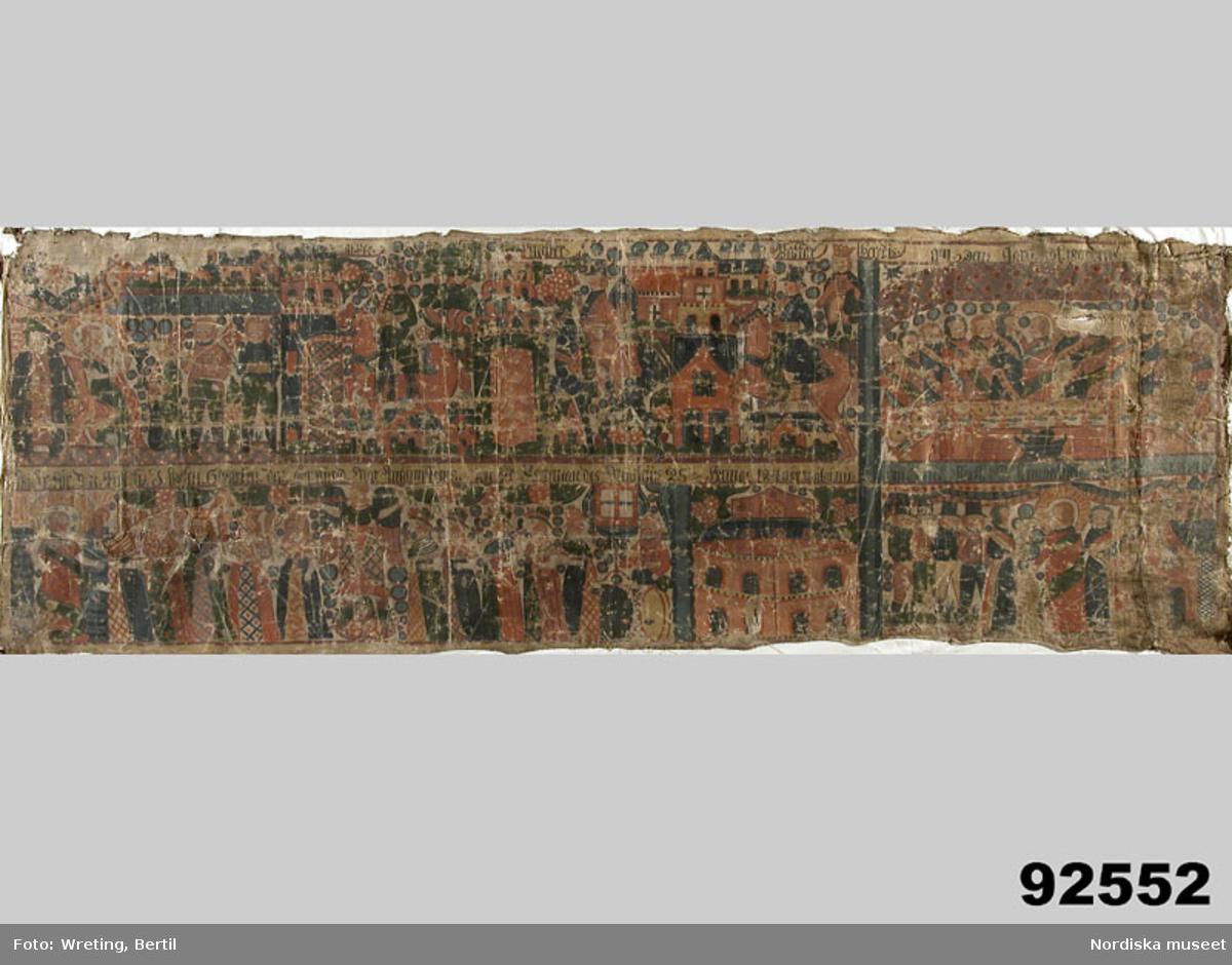 """Huvudliggaren: """"Väggmålning, på väv, figurframställn. i två rader m inskr. bibl. motiv. Anno 1840."""""""