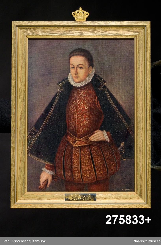 19 kungaporträtt, reproduktioner av oljemålningar. Halvporträtt, oftast 3/4 en face.