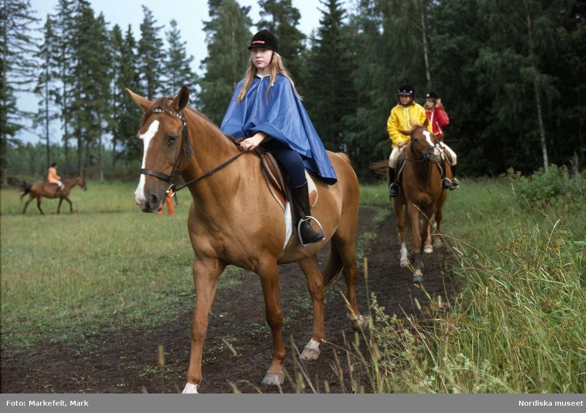 Fritid. Sport. Ridning. Marka ridläger för flickor utanför Östhammar. Några flickor rider på hästar.