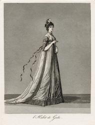 """Gustaf III:s nationella dräkt/svenska dräkten. """"L'Habit de Gala"""".  Dam i galavariant av hovdräkten. Akvatint trol. av J A Aleander, 1780-tal."""