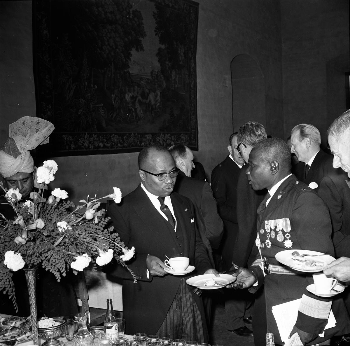 Dag Hammarskjölds begravning. Mottagningen på slottet, Uppsala 29 september 1961