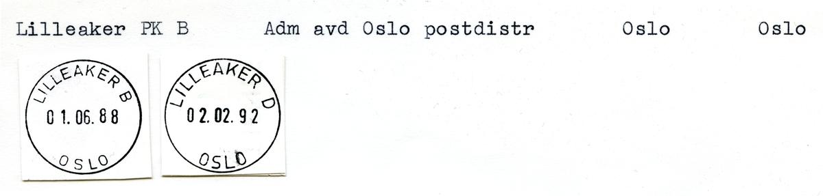 Stempelkatalog Lilleaker, Oslo