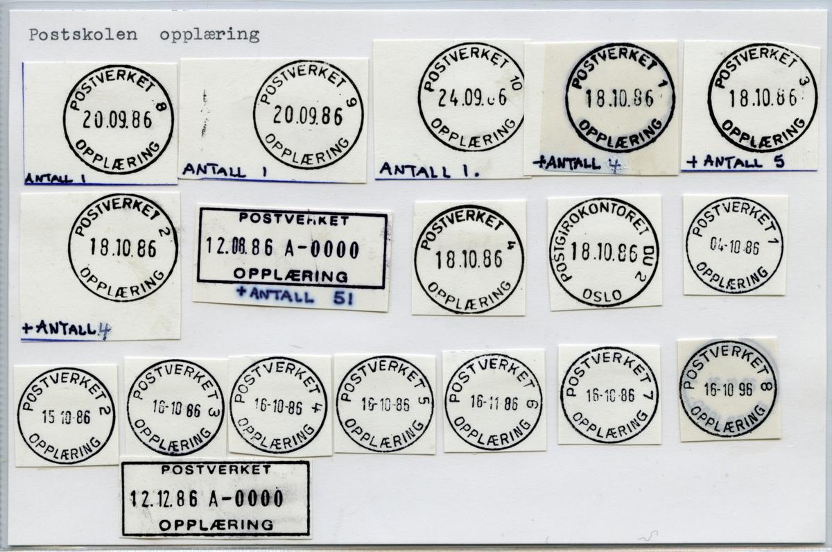 Stempelkatalog  Oslo, Postskolen Oslo