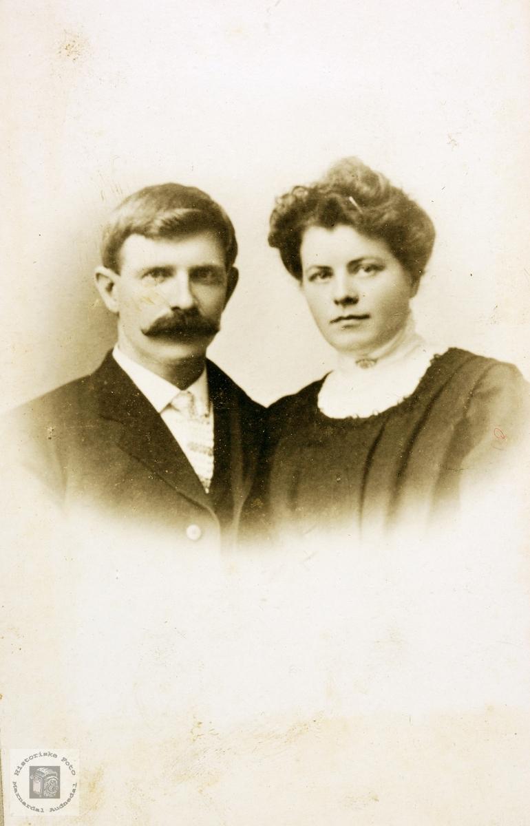 Portrett av ekteparet Søren og Jørgine Øydna. Grindheim.