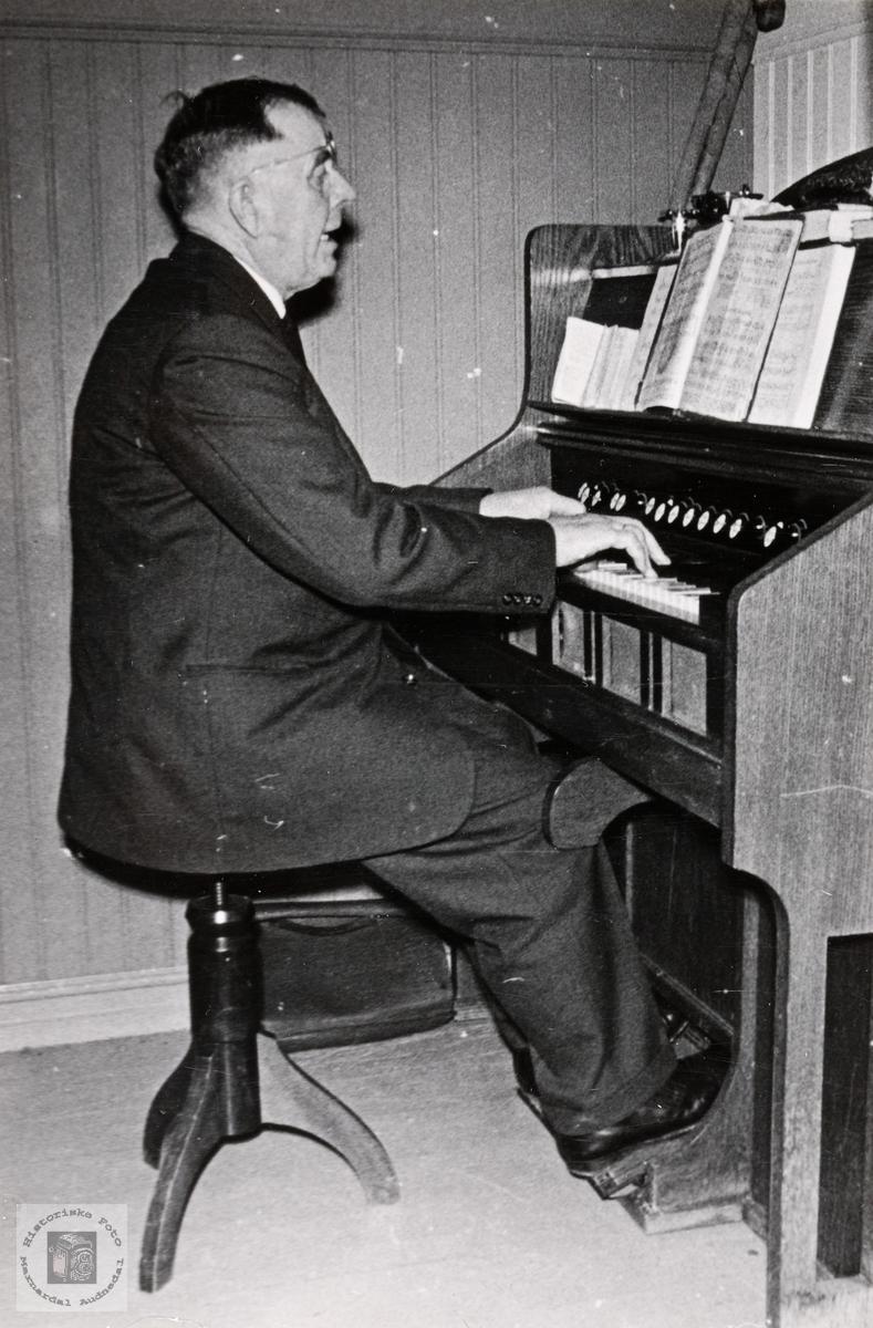 Organist Marin Ånundson ved trø orgelet. Konsmo.