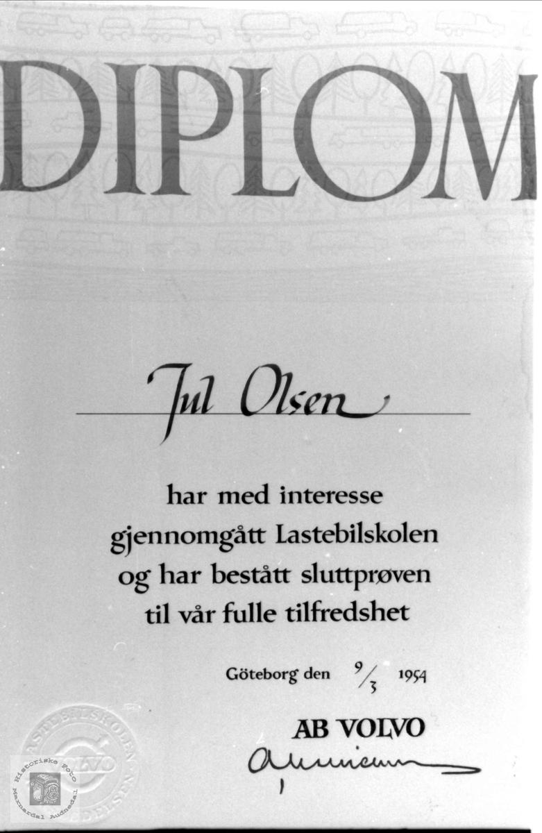 Diplom. Jul Olsen, Skuland Laudal.