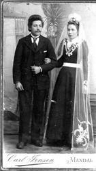 Brudebilde. Gunder og Anna Kvelland, Øvre Laudal.