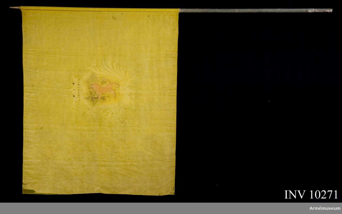 Grupp B I.  Duk av gul sidenkypert varå broderat med siden och silke Smålands vapen, i en av stiliserade palmkvistar i gult silke bildad sköld, krönt av öppen, rödfodrad krona i gult silke med pärlor i silver och stenar i rött och blått, i gult fält ett rött lejon förande ett svart armborst med pålagd pil, kantad med gul silkessnodd, fäst med gult sidenband och förgyllda spikar. Stången blåmålad, 293 cm. Holk 9,3 cm.