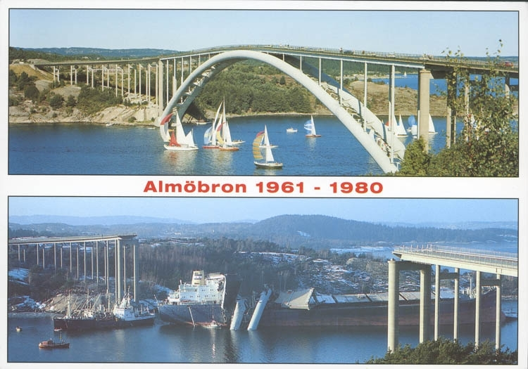 """""""Almöbron 1961-1980. En av värdens största brokatastrofer. Vid 1-tiden på natten den 18 januari 1980 påseglades och totalförstördes den första Tjörnbron, då kallad Almöbron. Det var fartyget Star Clipper på 30.000 ton, som påseglade brons västra fäste.  De båda bärande brospannen slets av och störtade ned över fartyget och havet. Innan trafiken hann stoppas, hade 7 fordon kört över brofästena och störtat i vattnet. Totalt omkom 8 personer""""."""