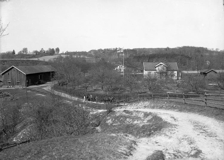 """Enligt fotografens noteringar: """"Gården Hedeholm gammal plåt omkring 1909-1911""""."""