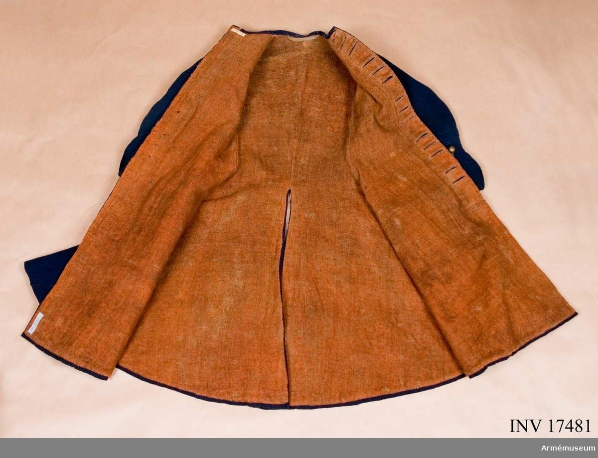 Grupp C I. Uniformsrock, justaucorps, sannolikt 1680-tal, Frankrike.
