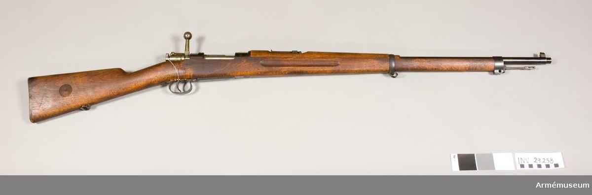 Grupp E II f. Gevär m/1896 med minimikaliber. Bajonett saknas. Tillverkningsnummer:171002.