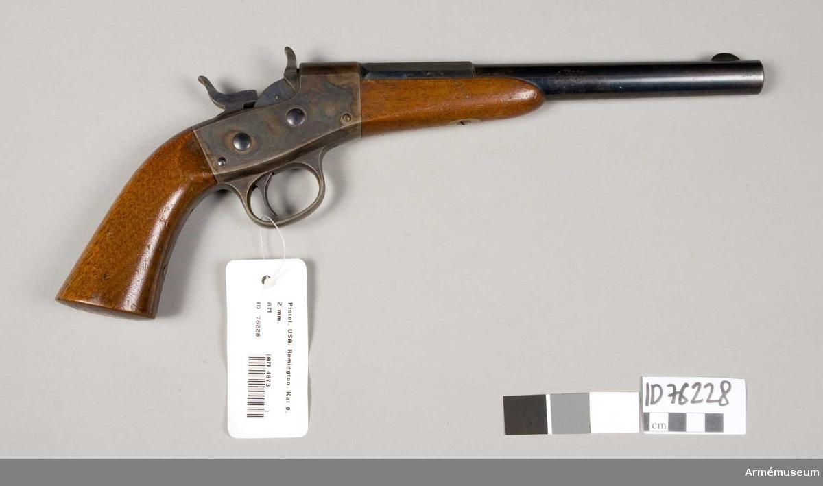 Grupp E III.  Pipan är rund men övergår 15 cm från mynningen i ett åttkantigt kammarstycke. Lådan och beslag är gråocciderade. Kolv och framstock av brun valnöt. På lådans vänstra sida står: Remington Ilion N.Y. U.S.A. Pat. May 3 rd Nov 15 th 1864. April 17 th 1866.