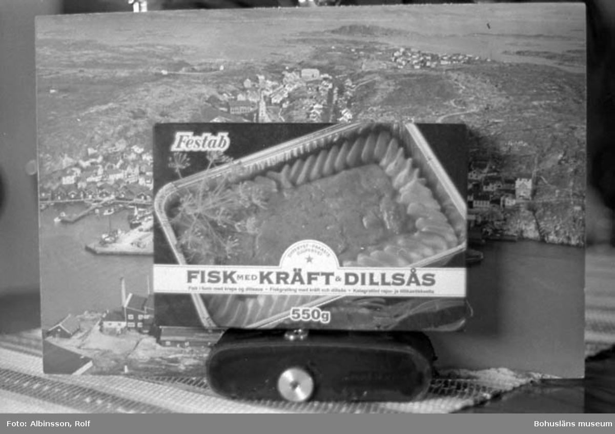 """Enligt fotografens noteringar: """"Festab kartong."""" Text på kartongen: """"FISK MED KRÄFT & DILLSÅS.""""  Fototid: 1996-04-23"""