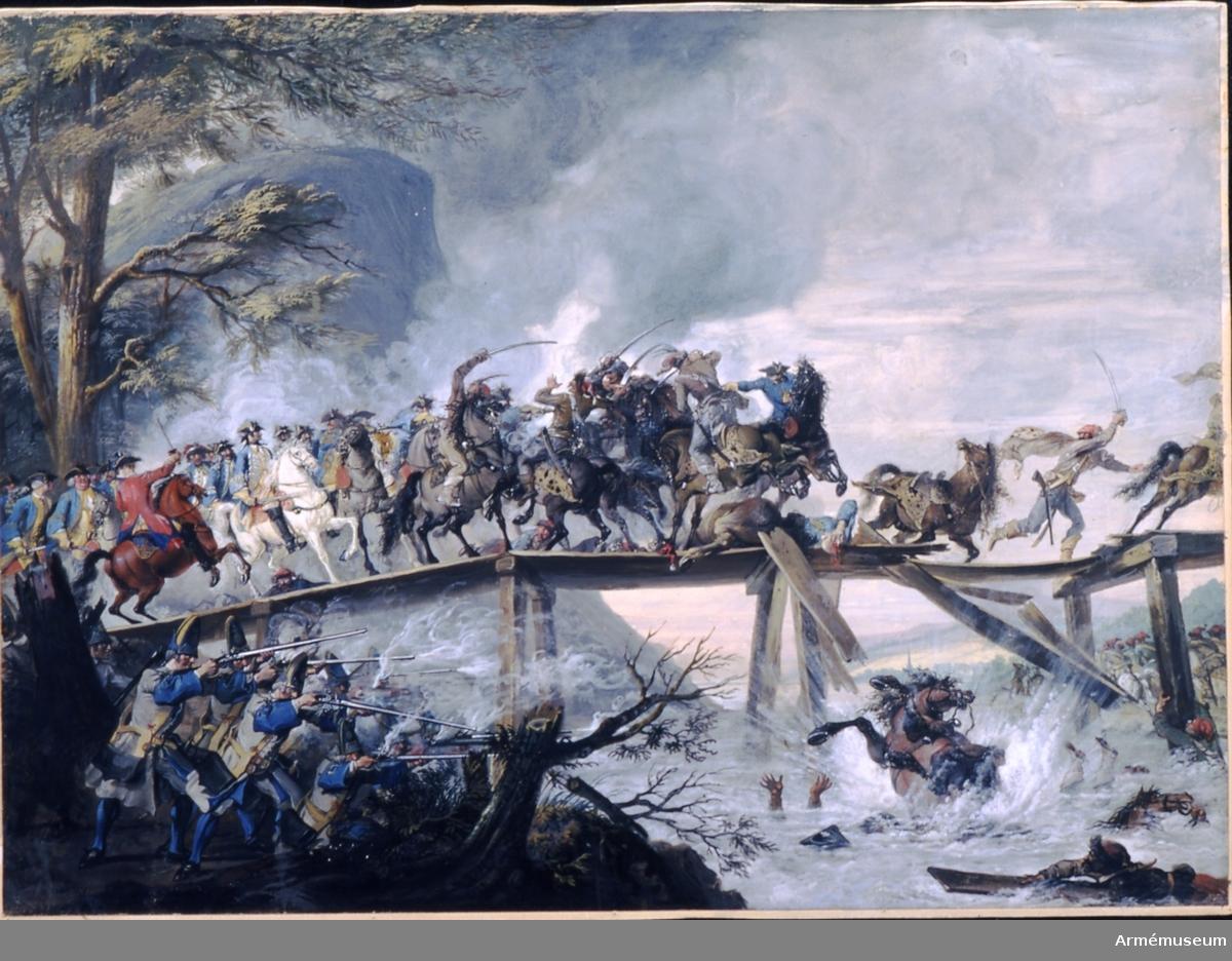 """Grupp M I. Temperamålning föreställande stridsscen från Carl XII:s tid av Cornelis Troost (1696-1750). Noterat av G. Adler: """"Carl Gustaf Tessin (1695-1770) reste utomlands (Började 1714) och sammanträffade med artisten samt föreslog honom att begagna Carl XII till ämne för sina bataljer; denna strid från den tiden tillhör samlingen"""" enligt påskrift på baksidan."""