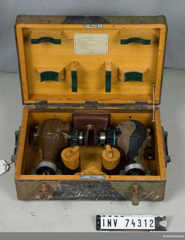 Grupp F III.  Bestående av: instrument, stativ, låda innehållande 2 st kikare.