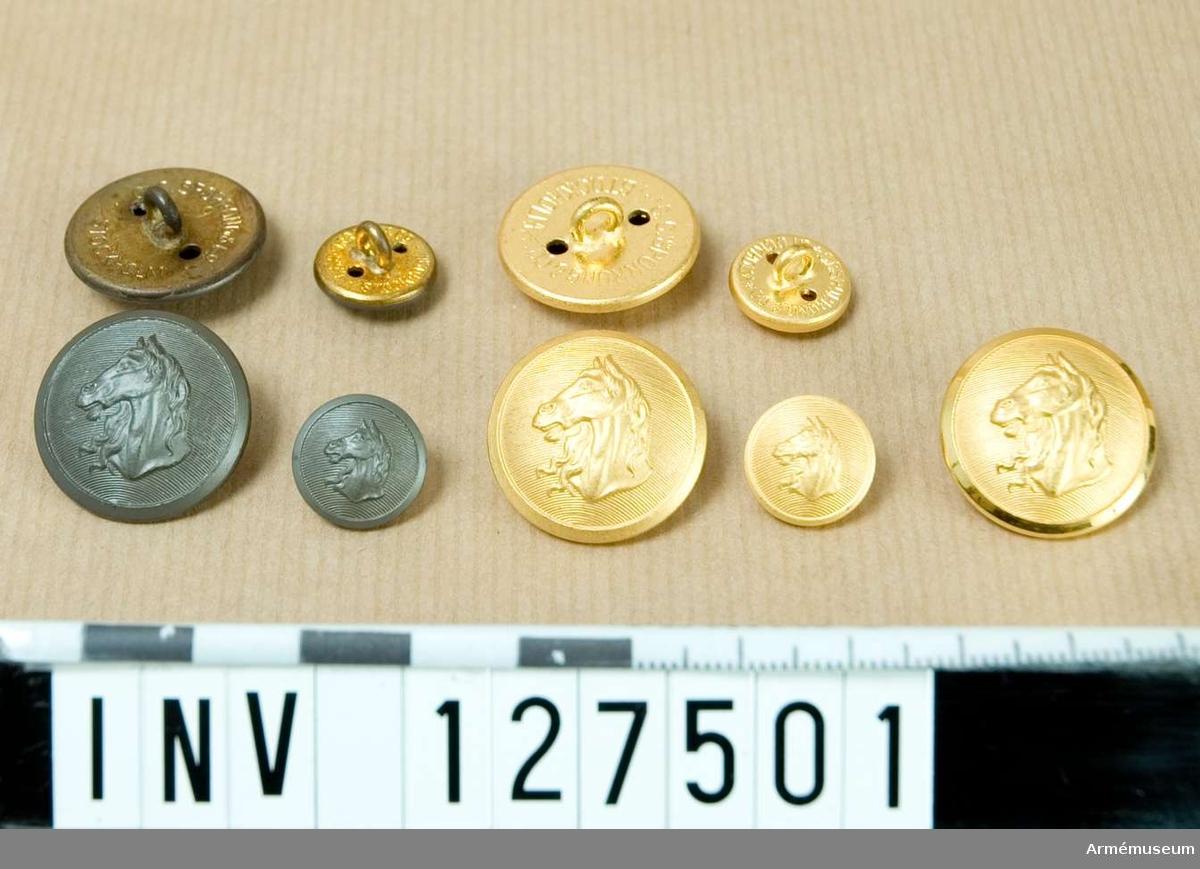 Låda innehållande stora och små knappar, guldfärgade och gråmålade. Av m/1876, m/1939 och m/1960.