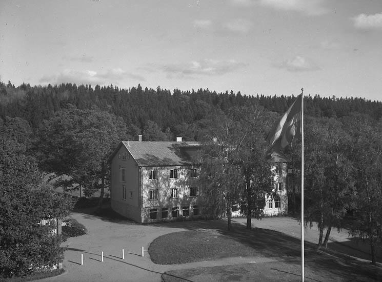 """Text till bilden:""""Skolanoch gårdsplanen är omgiven av barr och lövträd V.U.""""."""