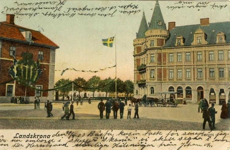 Notering på kortet: Landskrona. Torget.