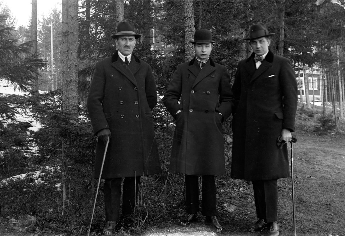 Tre män klädda i överrock, två har promenadkäpp i handen, Gustav Andersson (2). De står i skogen och i bakgrunden skymtar hus.