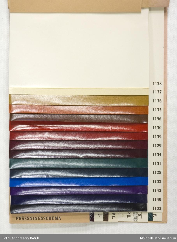 """Provbok 65D. Häfte med prover, """"Glansig läderimitation"""". Pärm av rosa mönsterpressad kartong med brunt relieftryck. Papyrus logotyp med sfinx. Provark i olika färg- och presschema, ordnade lättöverskådligt. Litteratur: Papyrus 1895-1945, Minnesskrifter, Esseltes Göteborgsindustrier AB, Göteborg 1945."""