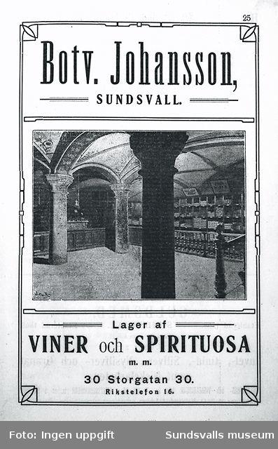 Annons för Botvid Johanssons vinhandel på Storgatan 30.