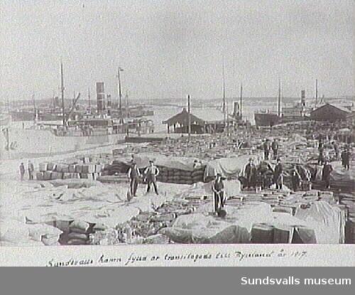 Sundsvalls hamn fylld med transitgods från Ryssland 1917.