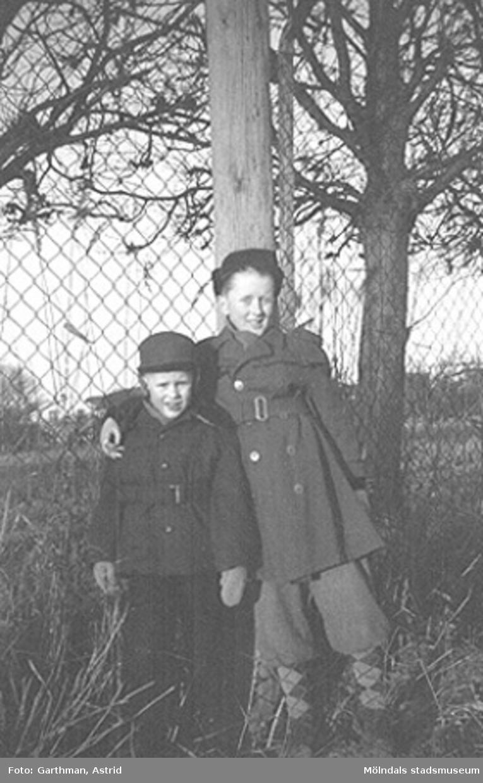 Bröderna Alf och Leif Garthman står lutade mot ett träd i Forsåker, 1954.