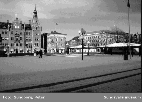Vinter på Stora torget i Sundsvall